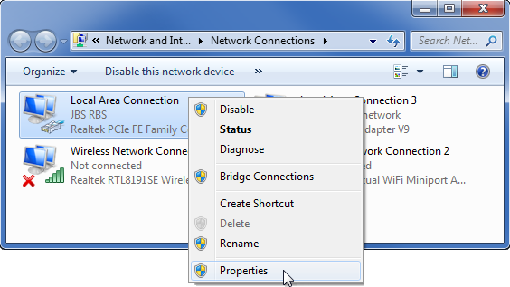 Windows Network Connections prozor s odabranim Properties.