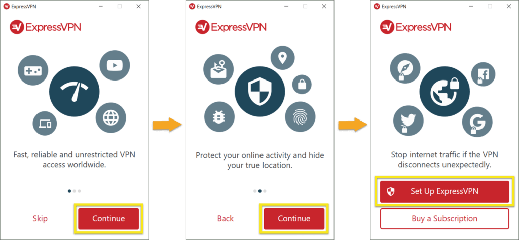 זרימת ברכה של ExpressVPN עבור Windows.