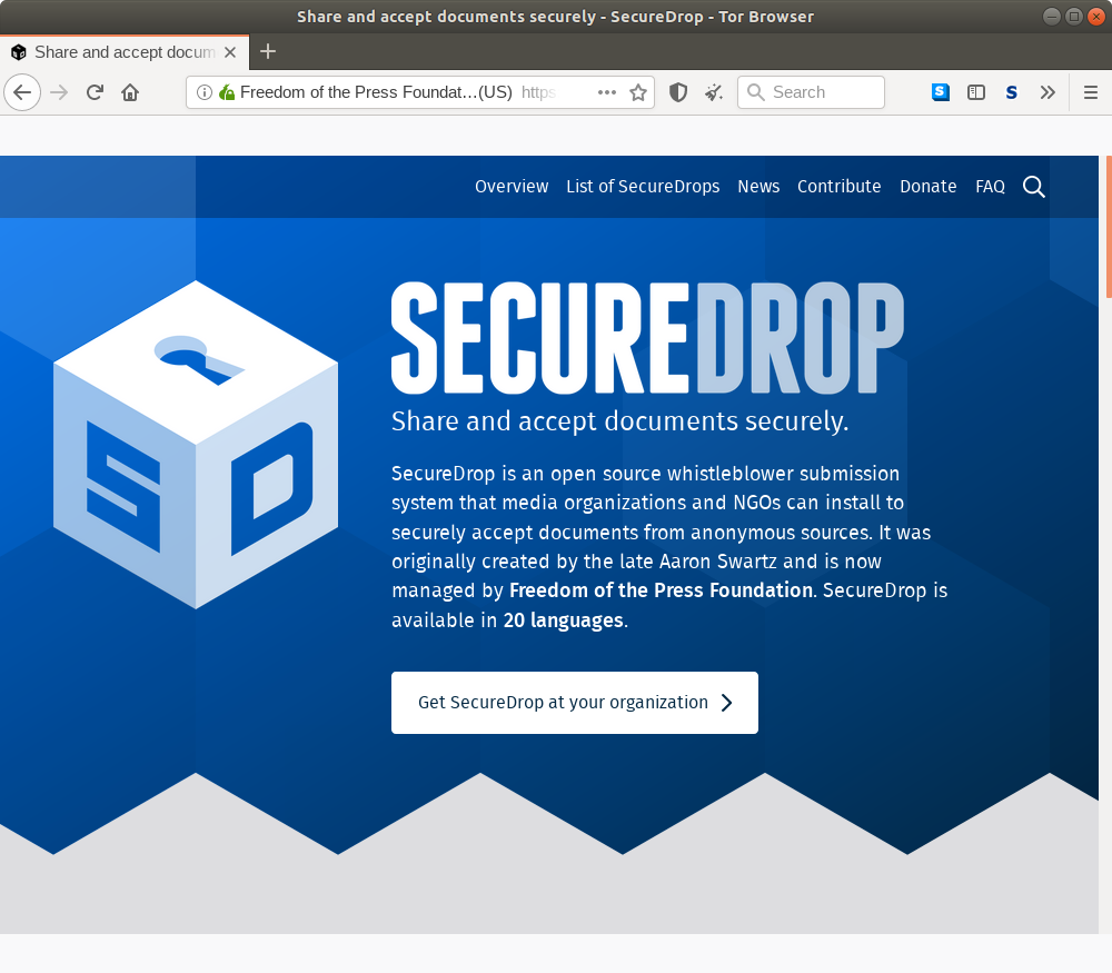 Лук домашняя страница для SecureDrop.